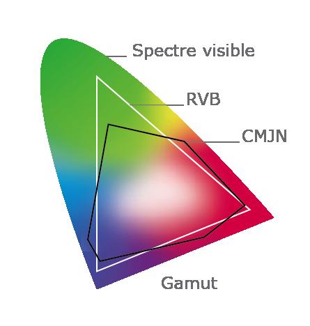 Spectre visible, RVB et CMJN, Gamut
